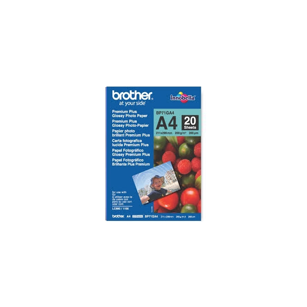 Brother A4 Premium Glossy fotopapir (BP71GA4) -  20 ark