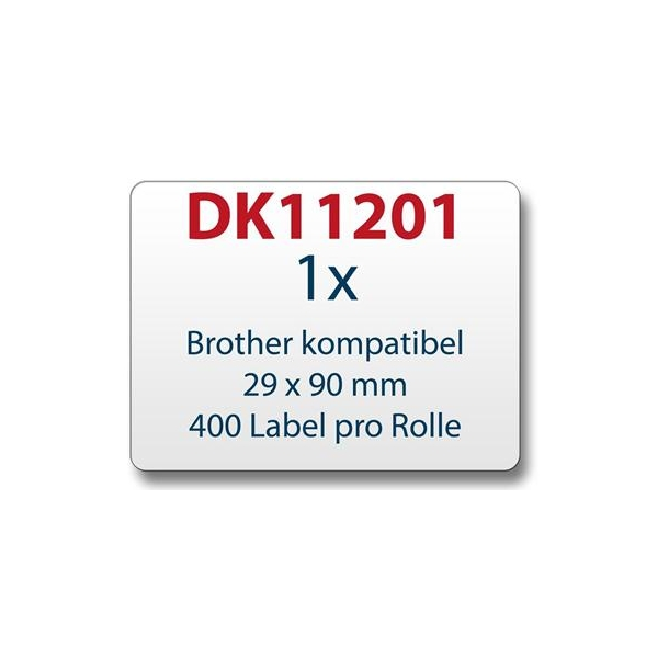 Brother DK11201 adresseetiketter 29 x 90mm 400 etiketter kompatible